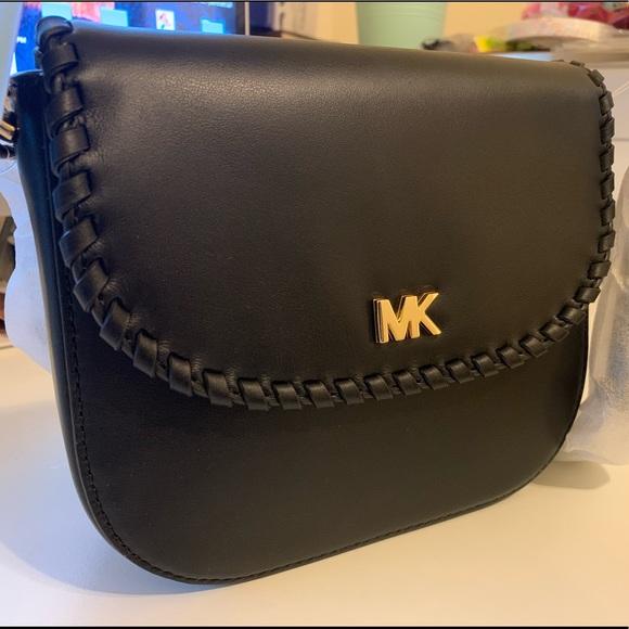 16b677fab840 Michael Kors Whipstitched Leather Saddle Bag